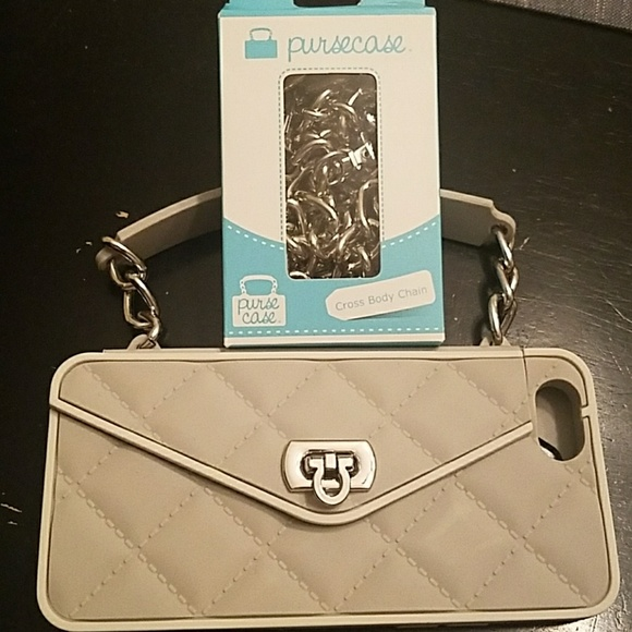 huge discount 449f6 490a4 pursecase Accessories | Grey Purse Case With Crossbody Chain | Poshmark